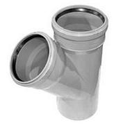 Тройник ПВХ Wavin с раструбами и уплотнительными кольцами для внутренней канализации серый 110х110/45º