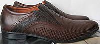 Мужские классические туфли в коричневом цвете обувь кожаная стильная демисезонная ботинки весна лето осень