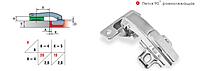 Петля мебельная // Linken System / для ЛДСП / угловая / без доводчика (Slide on) / стандартная планка / +100+110 ° / +90 ° (ровнолежащяя) / медь