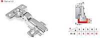 Петля мебельная // Linken System / для ЛДСП / полунакладная (1/2) / без доводчика (Slide on) / стандартная планка / +100+110 ° / 0 ° / медь