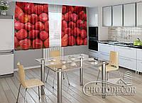 "ФотоШторы для кухни ""Клубника"" 1,5м*2,0м (2 половинки по 1,0м), тесьма"