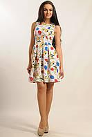 Летнее нарядное платье с отрезной юбкой с широкими складками из стрейч-коттона 42-48 размеры
