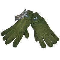 Перчатки вязаные с флисом олива