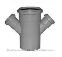 Крестовина одноплоскостная ПВХ Wavin для внутренней канализации серая 110х50/67º