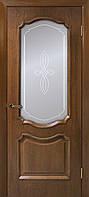 Полотно дверное шпонированое ТМ ОМИС Кармен  Орех, 700, массив сосновых пород, Со стеклом, шпон дуба