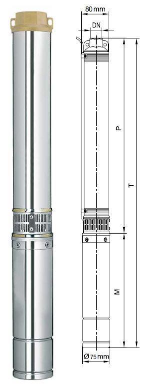 Центробежный погружной насос Aquatica 777406; 1.5кВт; H=197м; Q=2.7 м³/ч, Ø75 мм размеры