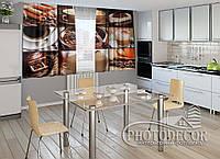 """ФотоШторы для кухни """"Кофе"""" 2,0м*2,9м (2 половинки по 1,45м), тесьма"""