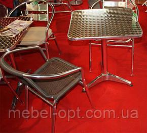 Кресло ALC-3110 алюминиевое с сиденьем из искусственного ротанга для летних открытых площадок кафе, фото 2