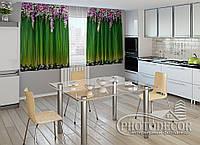 """ФотоШторы для кухни """"Ламбрекены из цветов"""" 1,5м*2,0м (2 половинки по 1,0м), тесьма"""