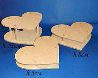 Сердце подставка для конфет, тортов,капкейков (h15см.)