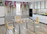 """ФотоШторы для кухни """"Ламбрекены из орхидей"""" 1,5м*2,0м (2 половинки по 1,0м), тесьма"""