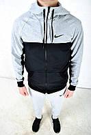 Спортивный костюм Nike черный (серые штаны)  с серым капюшоном