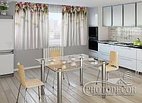 """ФотоШторы для кухни """"Ламбрекены из цветов. Розочки для кухни"""" 1,5м*2,5м (2 половинки по 1,25м), тесьма, фото 1"""
