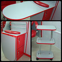 Комплект мебели  для мастера маникюра стол + этажерка