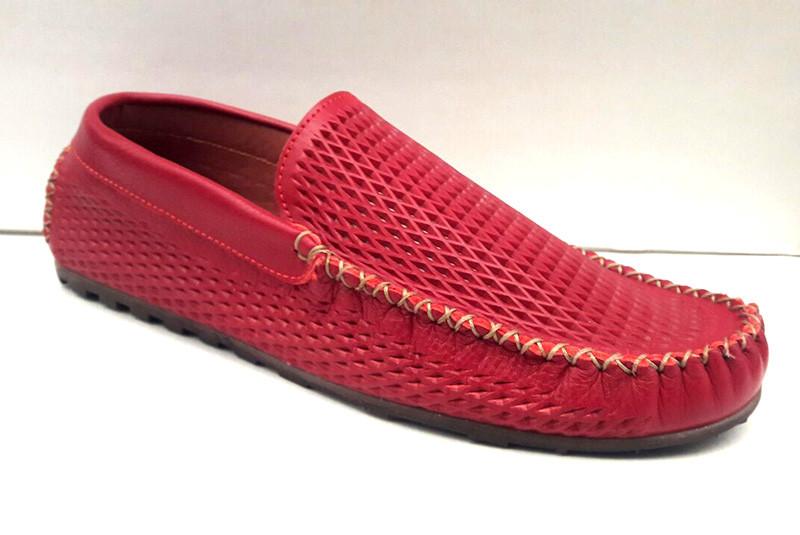 f574a603b0aa Мокасины летние мужские Broni кожаные красные, коричневые B0029