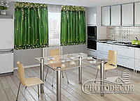 """ФотоШторы для кухни """"Ламбрекены из цветков"""" 1,5м*2,0м (2 половинки по 1,0м), тесьма"""