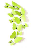 Интерьерный  декор - Бабочки 3D с магнитом  12 шт салатовые
