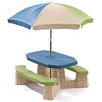 Столик для пикника голубого цвета с зонтиком - Step 2 - США - можно разместить 6 детей