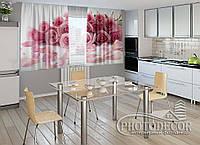 """ФотоШторы для кухни """"Лепестки роз"""" 1,5м*2,0м (2 половинки по 1,0м), тесьма"""