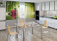 """ФотоШторы для кухни """"Листья бамбука"""" 1,5м*2,5м (2 половинки по 1,25м), тесьма"""