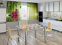 """ФотоШторы для кухни """"Листья бамбука"""" 1,5м*2,0м (2 половинки по 1,0м), тесьма"""
