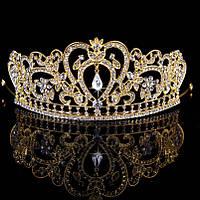 Диадема свадебная высокая Тиара корона Фиона голд Тиара Виктория для волос