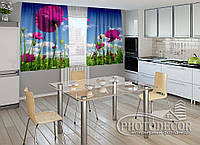 "ФотоШторы для кухни ""Маки"" 1,5м*2,5м (2 половинки по 1,25м), тесьма"