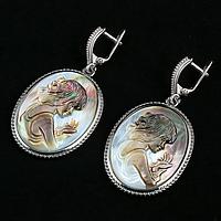Перламутр гемма Камея, серебро, серьги, 177СРП