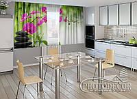 """ФотоШторы для кухни """"Малиновые орхидеи"""" 1,5м*2,0м (2 половинки по 1,0м), тесьма"""