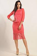 Двухслойная гипюровая юбка - карандаш с высокой посадкой 42-52 размеры, фото 1