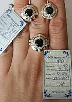 Комплект Луиза из серебра 925 пробы с золотыми вставками 375 пробы