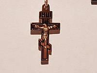 Золотой крестик Распятие Христа с эмалью