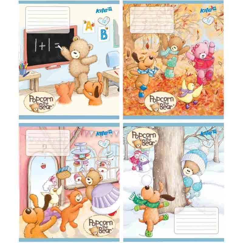Тетрадь Popcorn Bear, 12 листов, косая линейка, PO17-235