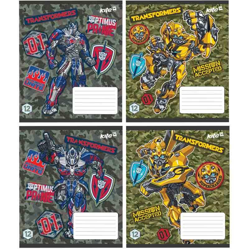 Тетрадь, Transformers, 12 листов, косая линейка, TF17-235