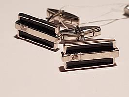 Серебряные запонки с фианитами и эмалью