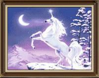 """Набор для рисования камнями """"Белая лошадь"""" (алмазная мозаика)"""