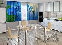 """ФотоШторы для кухни """"Голубые орхидеи"""" 1,5м*2,0м (2 половинки по 1,0м), тесьма"""