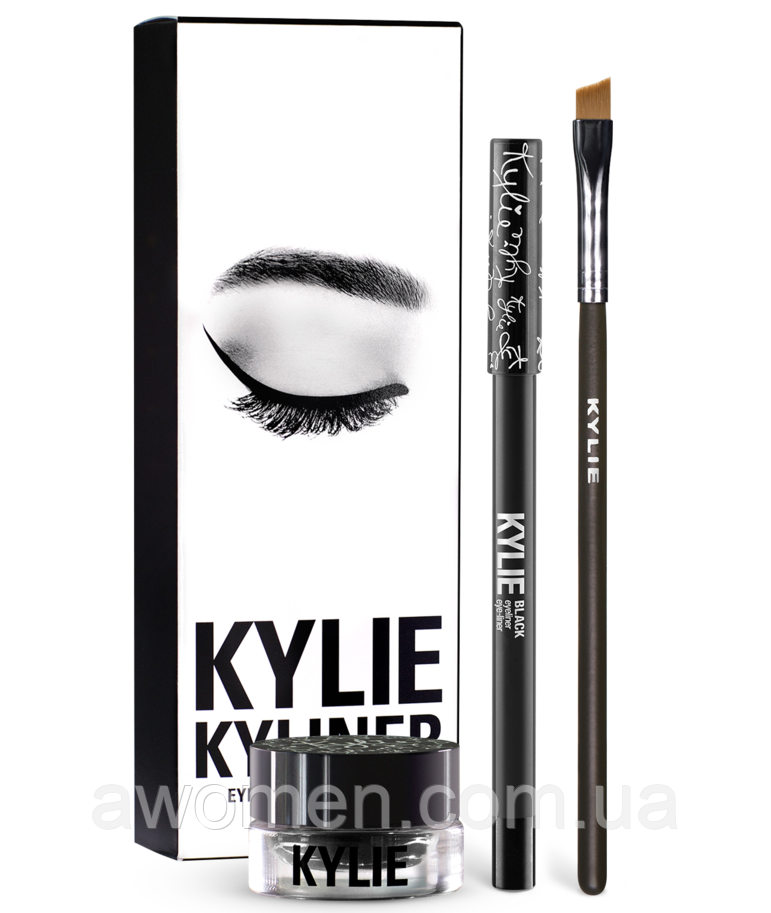 Гелевая подводка KYLIE JENNER + карандаш + кисть kylie cosmetics kyliner Kit (Black)