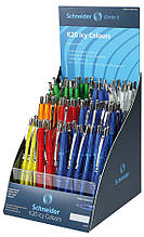 Дисплей 100 автомат. кулькових ручок SCHNEIDER K 20 ICY корпус асорті, пише синім