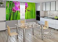"""ФотоШторы для кухни """"Малиновые орхидеи и бамбук"""" 1,5м*2,0м (2 половинки по 1,0м), тесьма"""
