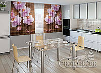 """ФотоШторы для кухни """"Орхидеи и дерево"""" 1,5м*2,0м (2 половинки по 1,0м), тесьма"""