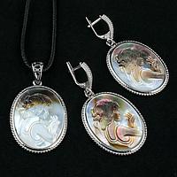 Перламутр, гемма Камея, срібло, комплект кулон і сережки, 029КМП