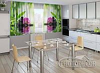 """ФотоШторы для кухни """"Орхидеи и камни"""" 1,5м*2,5м (2 половинки по 1,25м), тесьма"""