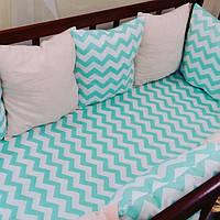 Бортики-защита в детскую кроватку с наматрасником на резинке
