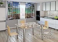 """ФотоШторы для кухни """"Открытое окно"""" 2,0м*2,9м (2 половинки по 1,45м), тесьма"""