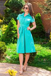 Женское свободное платье миди длины с поясом. Ткань: бенгалин. Размер: 42,44,46,48,50,52.