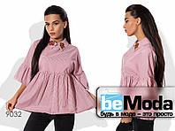 Элегантная женская блуза в мелкую полоску с декоративной вышивкой розовая