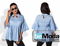 Элегантная женская блуза с декоративной вышивкой голубая