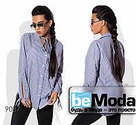Необычная женская рубашка с оригинальными завязками синяя