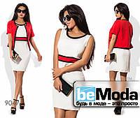 Элегантное женское платье с болеро в комплекте красное
